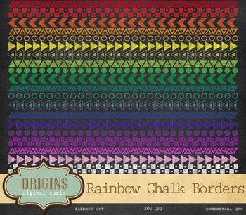 Rainbow Chalkboard Geometric Borders Clipart