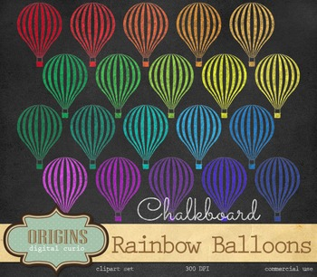 Rainbow Chalkboard Hot Air Balloon Chalk Clipart
