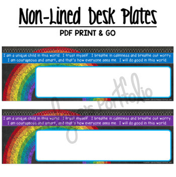 Desk Plates / Name Plates - Rainbow Chalkboard Theme