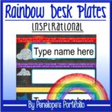 Desk Plates / Name Plates - Rainbow Chalkboard Theme
