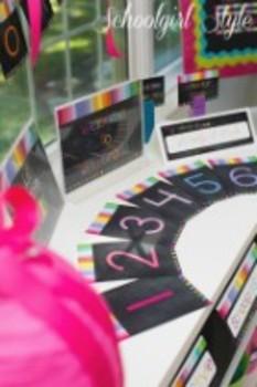Classroom Decor-Rainbow Chalkboard Large Number Cards