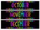 Rainbow Chalkboard Months