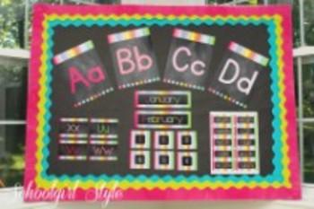 Classroom Decor-Rainbow Chalkboard Print Alphabet