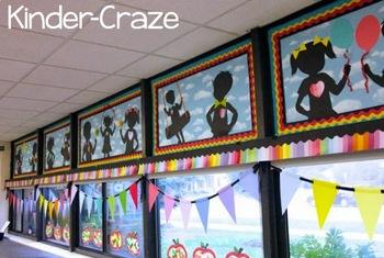 Classroom Decor Rainbow Chalkboard Silhouettes By