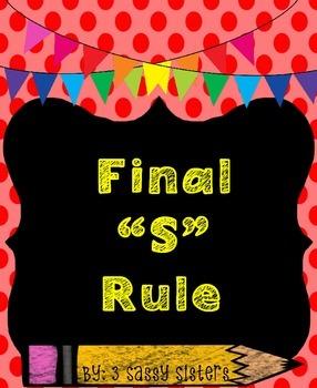 Rainbow Chalkboard Spelling Rule with Final S