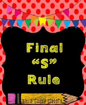 Rainbow Chalkboard Spelling Rule with Final S