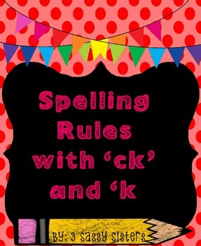 Rainbow/ Chalkboard Spelling Rules Poster with ck and k