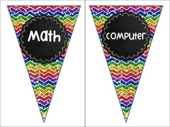Rainbow Chalkboard Station Pennant Banners Labels Reading and Free Centers