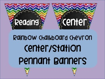 Rainbow Chalkboard Station Pennant Banners Labels Reading