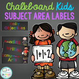 Rainbow Chalkboard Daily Objective and Subject Area Labels Freebie