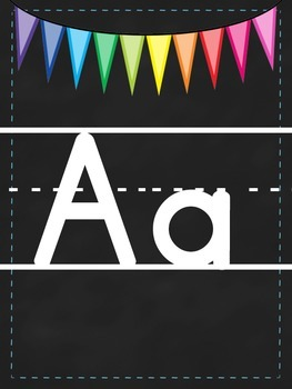 Rainbow Chalkboard Themed Alphabet Banner by And How Are ...