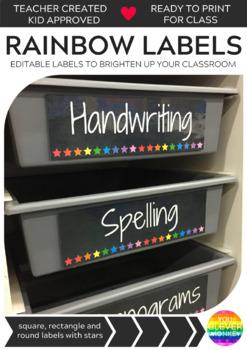 Rainbow Chalkboard/White Star Editable Classroom Labels