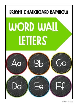 Rainbow Chalkboard Word Wall Letters
