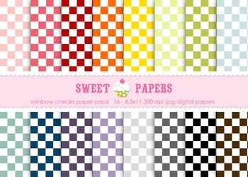 Rainbow Checks Digital Paper Pack - by Sweet Papers