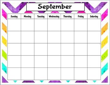 Rainbow Chevron 12 Month Calendar
