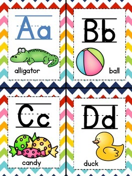 Rainbow Chevron Word Wall Headers
