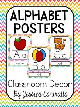 Rainbow Chevron ABC Posters