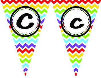 Rainbow Chevron Alphabet Banner Flags