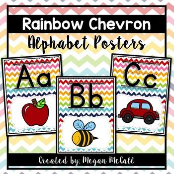 Rainbow Chevron-Alphabet Posters