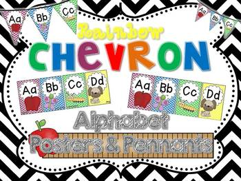 Rainbow Chevron Alphabet Posters and Pennants