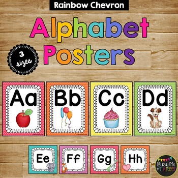 Rainbow Chevron Alphabet Posters and Word Wall Labels