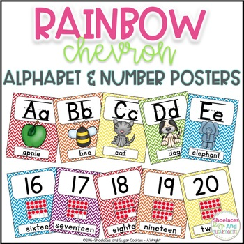 Rainbow Chevron Alphabet and Number Posters
