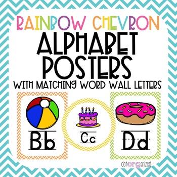 Bright Rainbow Chevron Alphabet and Word Wall Poster Set