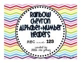 Rainbow Chevron Alphabet+Number Headers