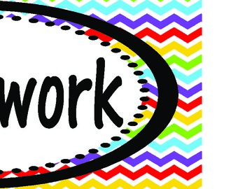 Rainbow Chevron Assignments, Homework, Standards, and I can... Headings