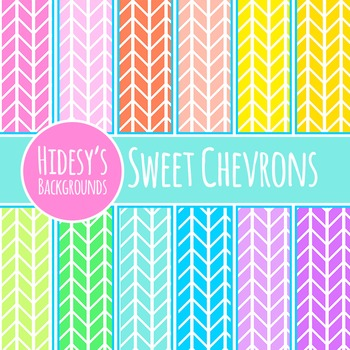 Rainbow Chevron Backgrounds / Patterns / Digital Papers Cl