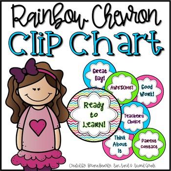 Rainbow Chevron Behavior Clip Chart FREEBIE