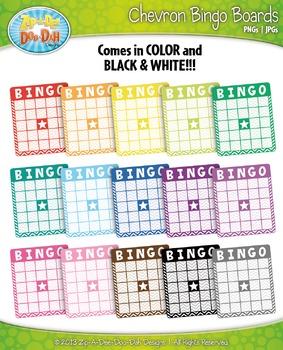 Rainbow Chevron Bingo Card Clipart {Zip-A-Dee-Doo-Dah Designs}