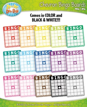 Rainbow Chevron Bingo Card Clip Art — Includes 18 Graphics!
