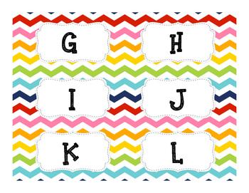 Rainbow Chevron Book Basket labels