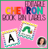 Editable Rainbow Chevron Target Adhesive Book Bin Labels