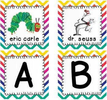 Editable Rainbow Chevron Target Adhesive Book Bin Labels