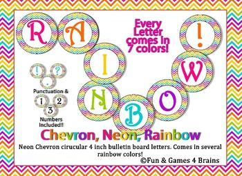 Rainbow Chevron Bright Neon Themed 4 inch Circular Bulletin Board Letters