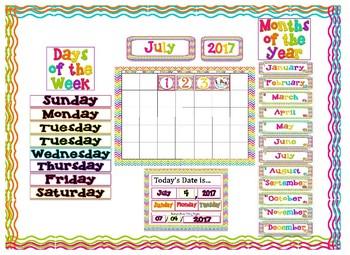 Rainbow Chevron Bright Neon Themed Calendar Bulletin Board Set