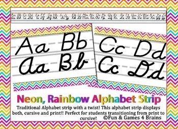 Rainbow Chevron Bright Neon Themed cursive and print alphabet strip