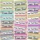 Rainbow Chevron Bright Neon Themed editable nameplates