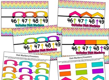 Giant Classroom & Student Rainbow Chevron Themed number lines 1-100