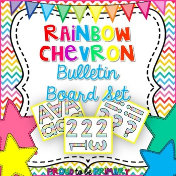 Rainbow Chevron Bulletin Board Letters and Numbers
