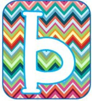 Rainbow Chevron Bulletin Board Letters, Numbers and Symbols