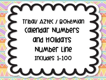 Rainbow Chevron Calendar Numbers Holidays and Number line to 100