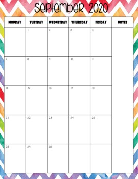 Rainbow Chevron Calendar (Portrait) 2017 - 2018 - Back to School Essential