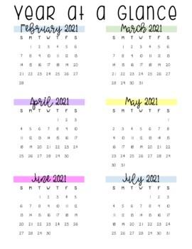 Rainbow Chevron Calendar (Portrait) 2018 - 2019 - Back to School Essential