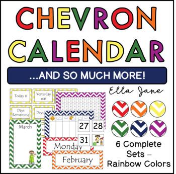 Rainbow Chevron Calendar Sets (6 complete sets)