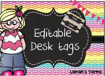 Rainbow Chevron, Chalkboard, Editable Desk plate/ nameplate