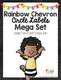 Rainbow Chevron Circular Number Labels (1-36)