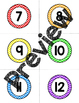 Rainbow Chevron Circular Number Labels (1-36)